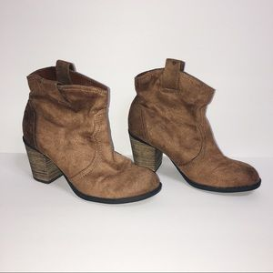 Brown faux suede ankle heeled boots